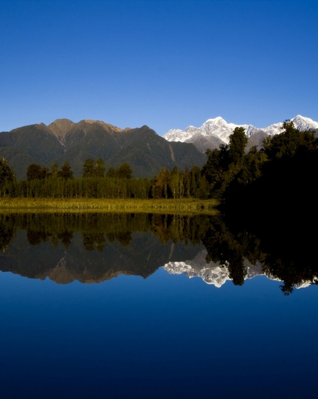 Lake Matheson Reflective Lakes Near Fox Glacier, New Zealand