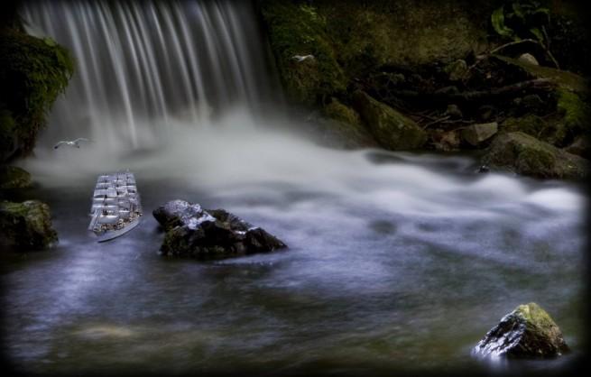 Fantasy Waterfall Scene - Fantasy Scene, Water, Boat, Waterfall