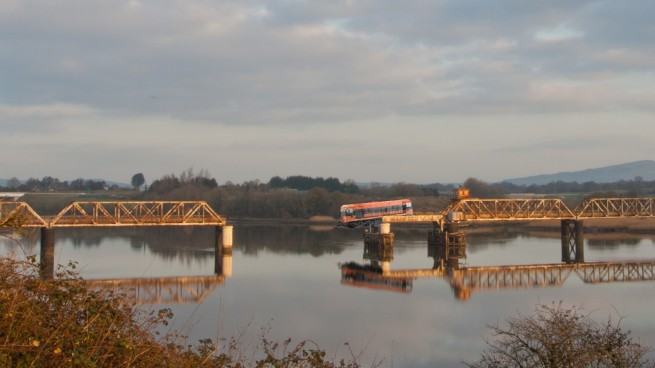 Train Hangs from Red Iron Bridge, Train Disaster Waterford just avoided by Photoshop - Fake Photo - Not Real !!!