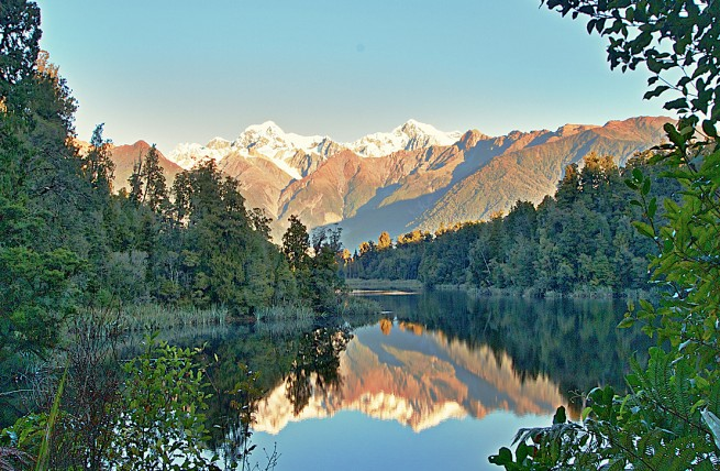 Reflective Lakes at Sunset in Fox Glacier, Lake Hamilton