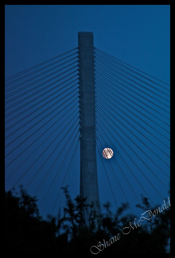 Moon through the Bridge Wires – 25/Project 52