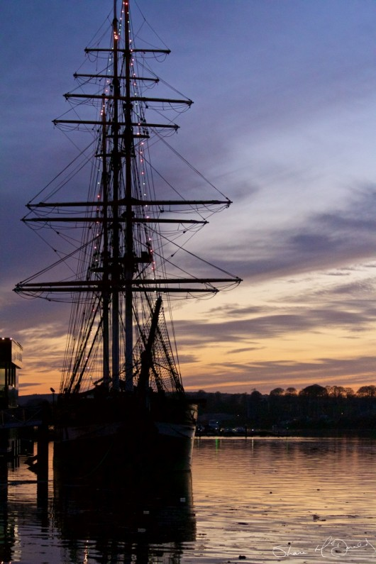The Dunbrody Famine Ship just after Sunset, New Ross, Co. Wexford, ireland