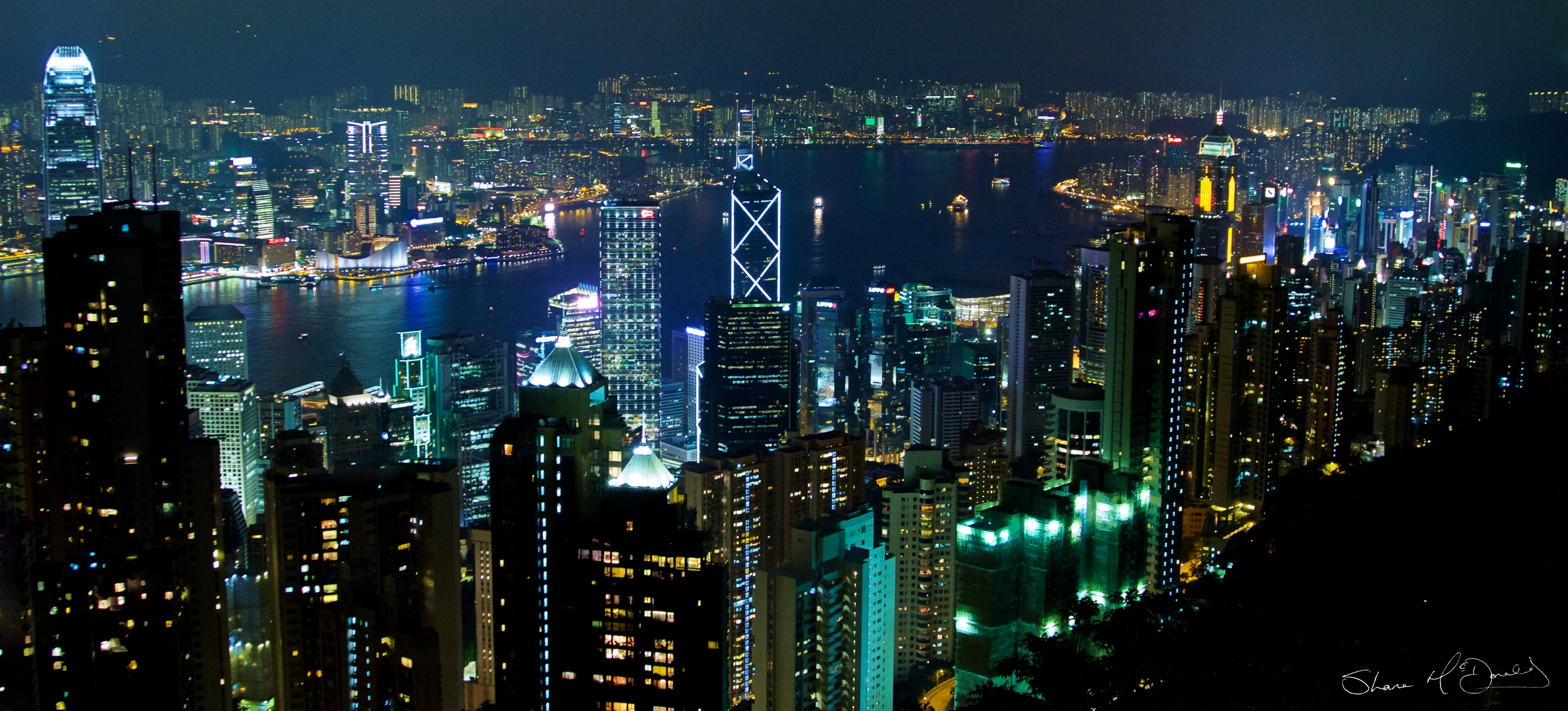 Hong Kong by Night from the Peak, Photo of Hong Kong, Hong Kong Night, Skyscrapers, Photo of Hong Kong, by Night, Night Photo of Hong Kong