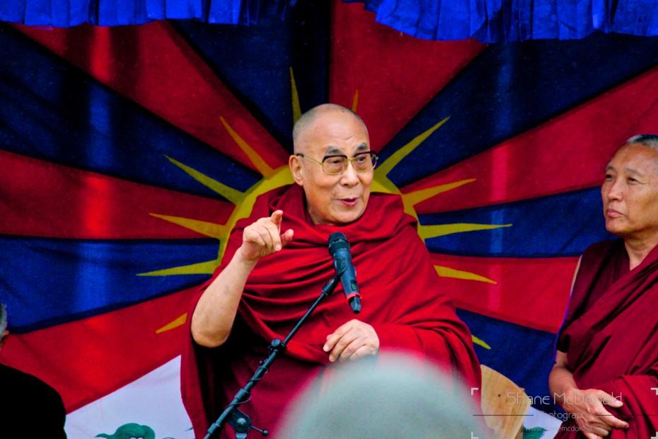 The Dalai Lama giving at talk near the stone circle at Glastonbury 2015