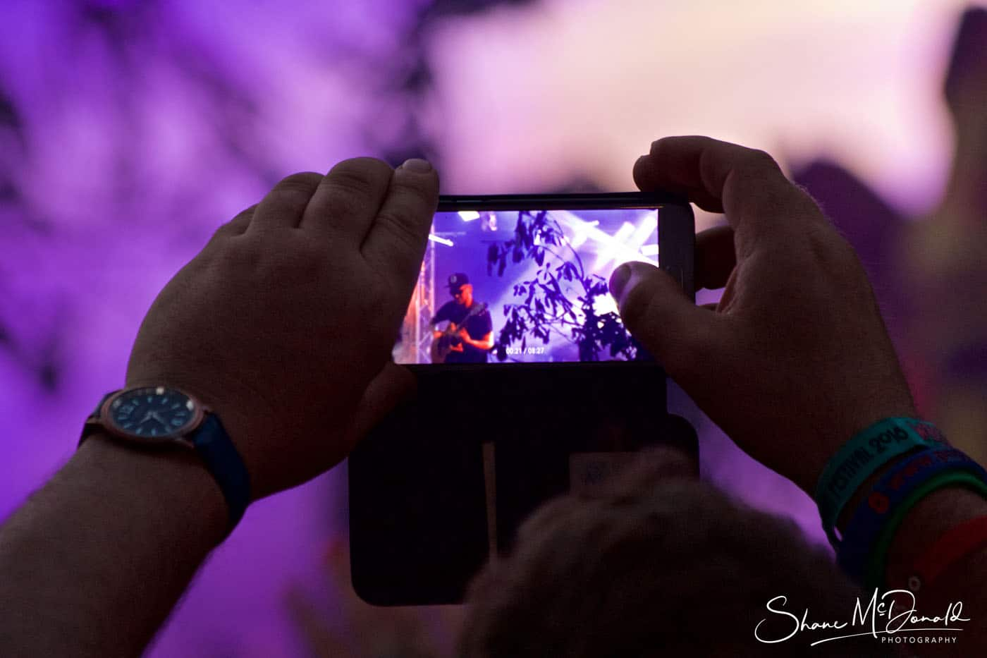 iPhone watching Amazing Guitarist at the Isle of Wight Festival